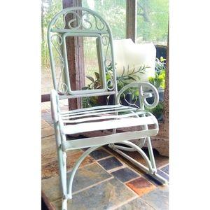 Vtg. Metal Mini Green Rocking Chair Plant Stand